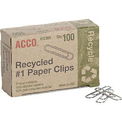 ACCO Recycled Paper Clips No 1