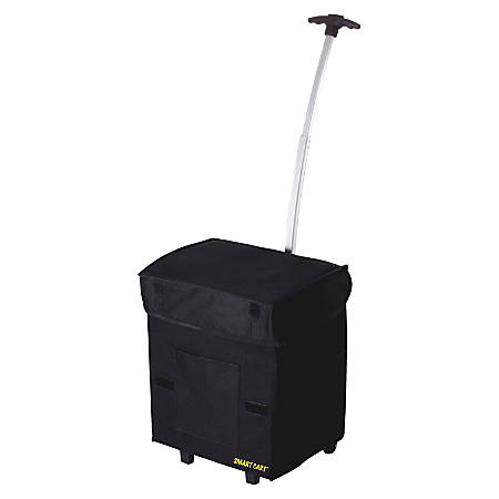 """dbest Smart Cart Polyester Folding Utility Cart With Extendable Handle, 18 7/8""""H x 13""""W x 4 1/2""""D, Black"""