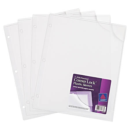 Avery® Corner Lock™ 3-Hole Punched Plastic Sleeves, Clear, Pack Of 4