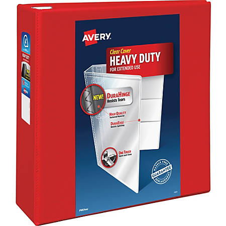 "Avery® Heavy-Duty View Binder With Locking One Touch EZD Rings, 4"" Rings, 43% Recycled, Red"