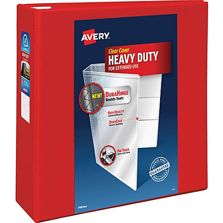 """Avery Heavy-Duty View Binders with Locking One Touch EZD Rings - 4"""" Binder Capacity - Letter - 8 1/2"""" x 11"""" Sheet Size - 780 Sheet Capacity - 3 x D-Ring Fastener(s) - 4 Internal Pocket(s) - Pressboard, Poly - Red - 2.50 lb - Recycled - 1Each"""