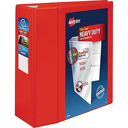 """Avery® Heavy-Duty View Binder With Locking 1-Touch EZD Rings, 5"""" Rings, Red"""