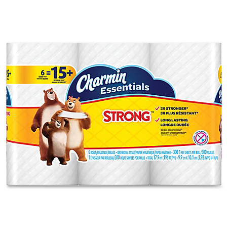 Charmin Essentials Strong Bath Tissue - 1 Ply - 300 Sheets/Roll - White - Paper - Wet Strength, Clog-free, Septic-free - 48 / Carton