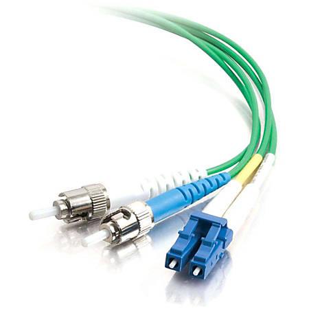 C2G-3m LC-ST 9/125 OS1 Duplex Singlemode Fiber Optic Cable (Plenum-Rated) - Green