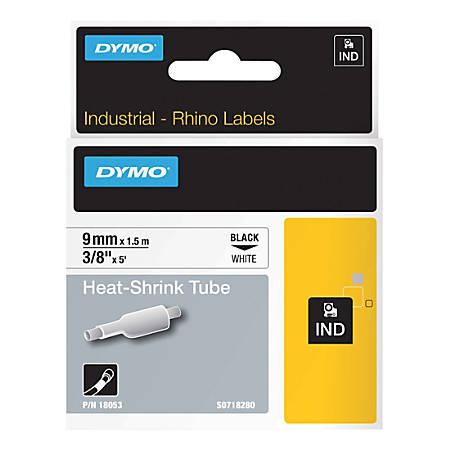"Rhino Heat Shrink Tube Label - 3/8"" Width x 60"" Length - Rectangle - Thermal Transfer - White - Polyolefin - 1 Each"