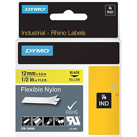 "DYMO® Rhino Flexible Nylon Labels, DYM18490, 1/2""W x 11 1/2 ft Length, Direct Thermal, Yellow, Nylon"
