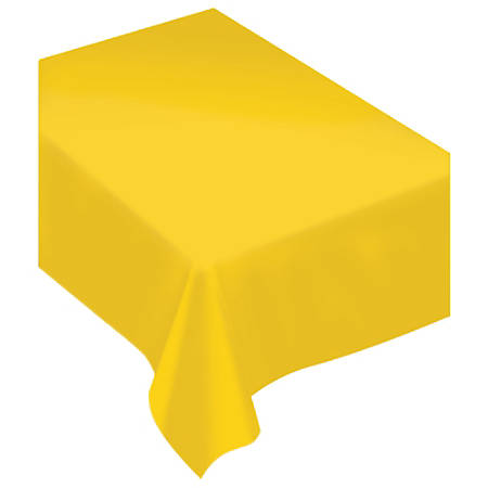 """Amscan Rectangular Fabric Table Covers, 60"""" x 80"""", Yellow Sunshine, Pack Of 2 Table Covers"""