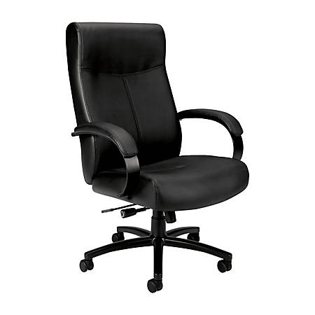 basyx by HON® Big & Tall Leather High-Back Chair, Black