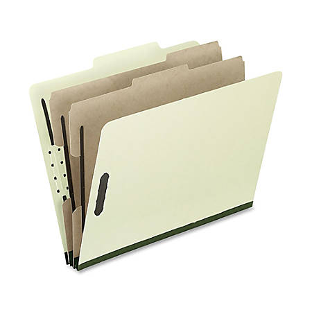"Oxford® Pressboard Classification Folders, Legal Size, 2"" Expansion, 2 Dividers, 65% Recycled, Gray/Green, Box Of 10"