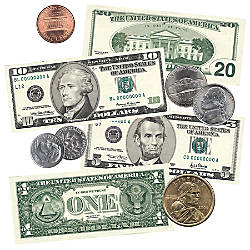Scholastic Punch Outs US Coins Bills