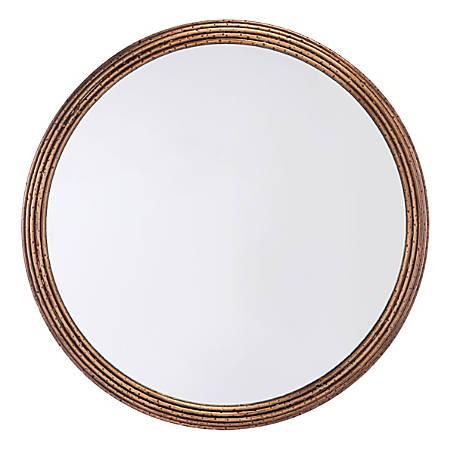 """Zuo Modern Zero Round Mirror, Large, 31 1/2""""H x 31 1/2""""W x 1 1/4""""D, Antique"""
