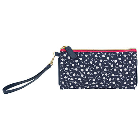 """See Jane Work® Going Places Wristlet, 8 1/4"""" x 4 1/4"""", Navy Floral"""