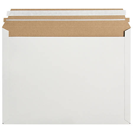 """Office Depot® Brand Stayflats® Express Pouch Mailers, 12 1/2"""" x 9 1/2"""", White, Case Of 250"""