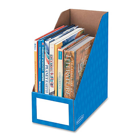 """Bankers Box® Magazine Holder, 6""""H x 11 3/4""""W x 12 3/4""""D, Blue, Pack Of 3"""