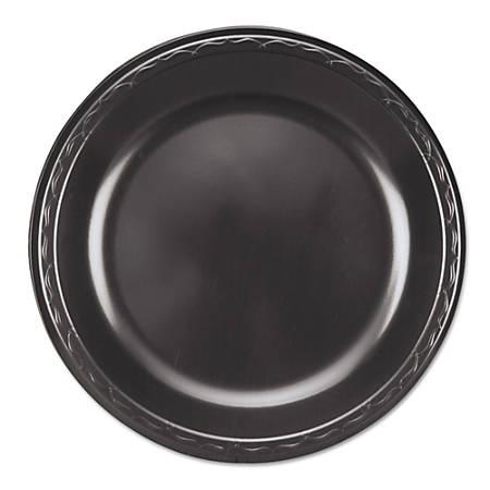 "Genpak® Elite Laminated Foam Plates, Round, 10 1/4"", Black, 125 Plates Per Pack, Carton Of 4 Packs"
