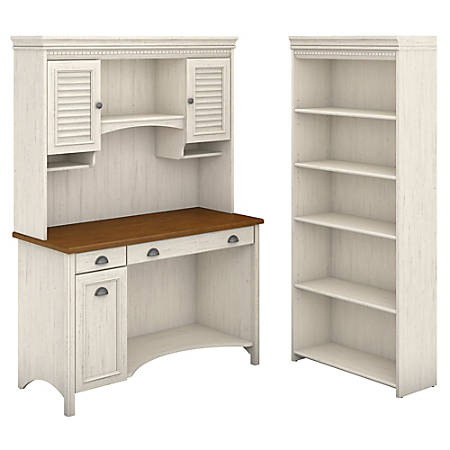 Bush Furniture Stanford Computer Desk With Hutch And 5 Shelf Bookcase, Antique White/Tea Maple, Standard Delivery