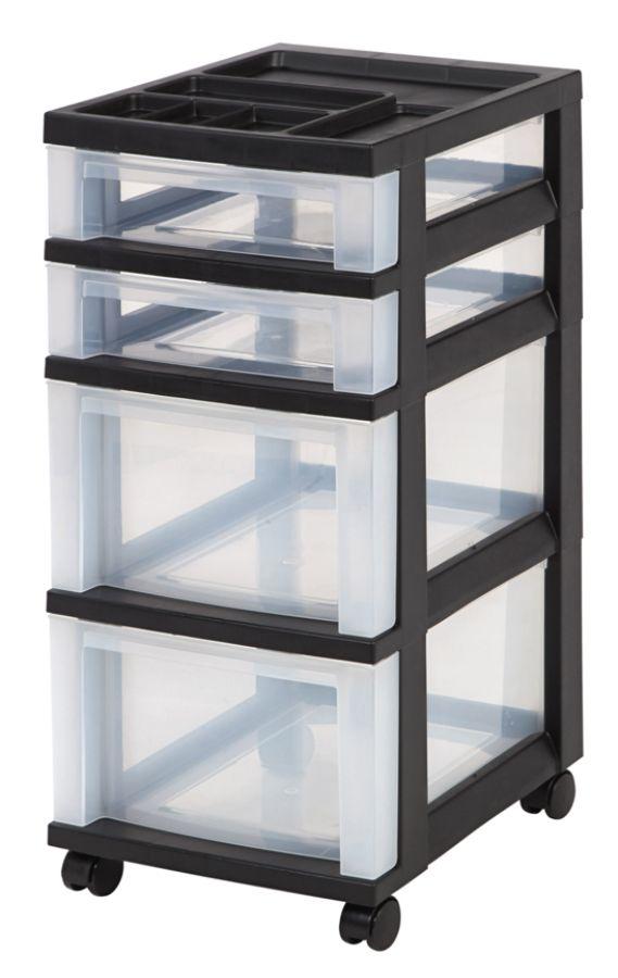 IRIS 4 Drawer Plastic Rolling Storage Cart 26 716 H x 12 18 W x 14