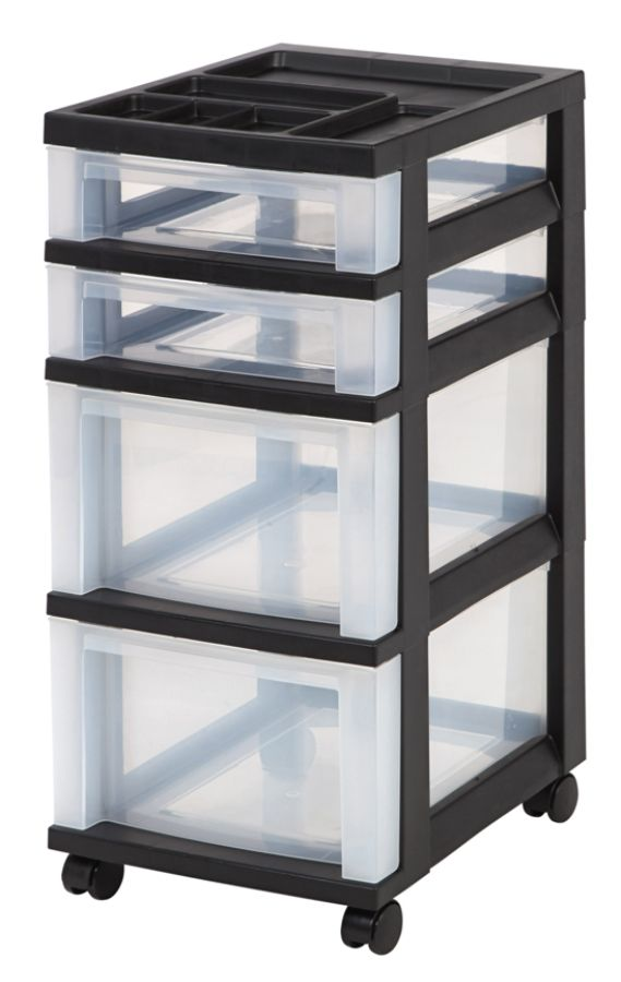 Superb IRIS 4 Drawer Plastic Rolling Storage Cart 26 716 H X 12 18 W X 14 1516 D  ClearBlack By Office Depot U0026 OfficeMax