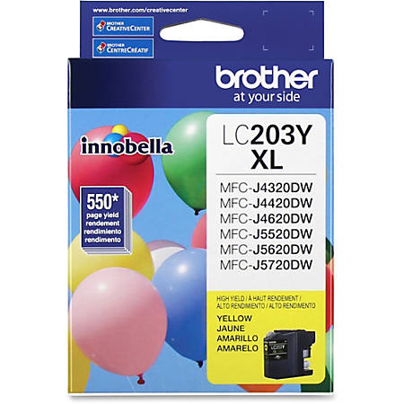Brother Genuine Innobella LC203Y High Yield Yellow Ink Cartridge - Inkjet - High Yield - 550 Pages - Yellow - 1 Each