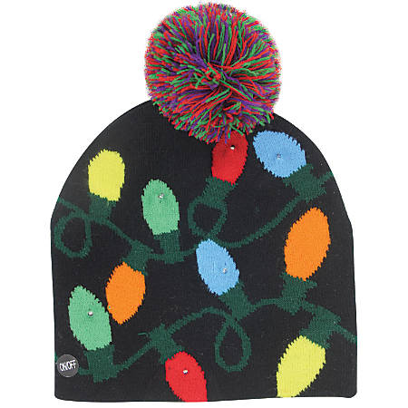DM Merchandising Christmas Light-Up Knitted Hats, Assorted Designs, Pack Of 24 Hats