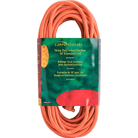 Compucessory Heavy-duty Indoor/Outdoor Extsn Cord - 125 V DC Voltage Rating - 13 A Current Rating - Orange