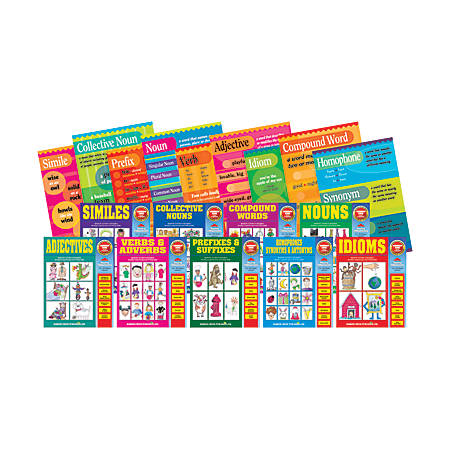 Barker Creek® Grammar Poster & Activity Book Set, Grades K-9, Multicolor, Pack Of 18