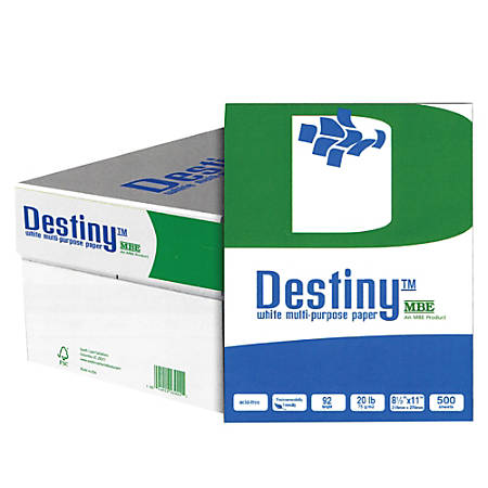 "Destiny™ Multi-Use Copy Paper, Letter Size (8 1/2"" x 11""), 20 Lb, Ream Of 500 Sheets, Case Of 10 Reams"