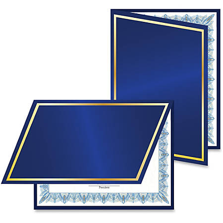 Geographics Navy/Gold Foil Certificate Jacket - Navy - Recycled - 5 / Pack
