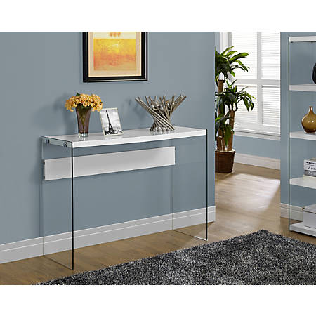 Monarch Specialties Console Table With Glass Base, Rectangle, Glossy White
