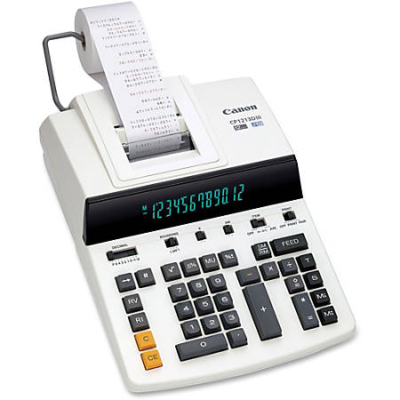 "Canon CP1213DIII Desktop Printing Calculator - Dual Color Print - Dot Matrix - 4.8 lps - Ergonomic Design, Independent Memory, Item Count - 0.67"" - 12 Digits - Fluorescent - AC Supply Powered - 6"" x 11"" x 17"" - White - 1 Each"