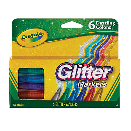 Crayola® Glitter Markers, Bullet Point, Assorted Colors, Pack Of 6