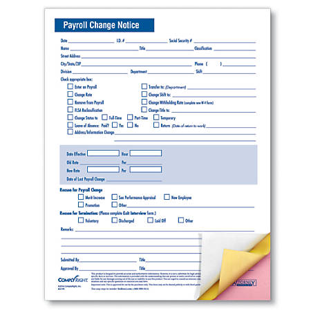 "ComplyRight Payroll Change Notice Forms, 3-Part, 8 1/2"" x 11"", White, Pack Of 50"