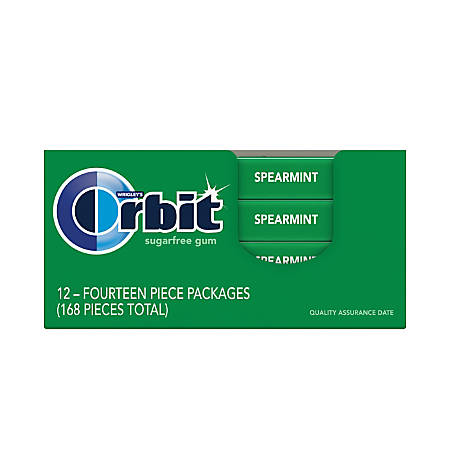 Orbit® Gum, Spearmint, 0.95 Oz, Box Of 12