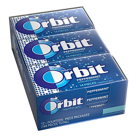 Orbit® Gum, Peppermint, 0.95 Oz, Box Of 12