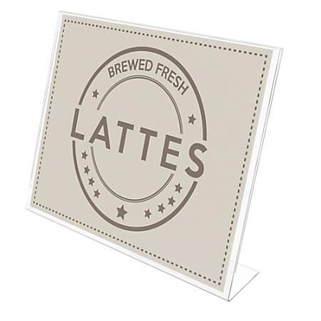 "Deflecto® Anti-Glare Slanted Sign Holder, Landscape, 8 1/2"" x 11"", Clear"