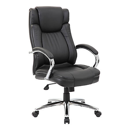 Boss Office Products LeatherPlus High-Back Chair, Black/Chrome