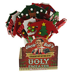 75654076 Uncle Bob's Ugly Sweater Scribblers Christmas Pen, Medium Point, 0.3 mm,  Assorted Styles