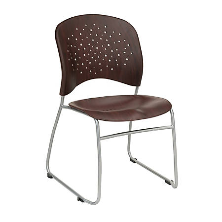 "Safco Reve Plastic Wood Back Guest Chair - Plastic Mahogany Seat - Plastic Mahogany Back - Sled Base - 19"" Width x 23.5"" Depth x 33.5"" Height"