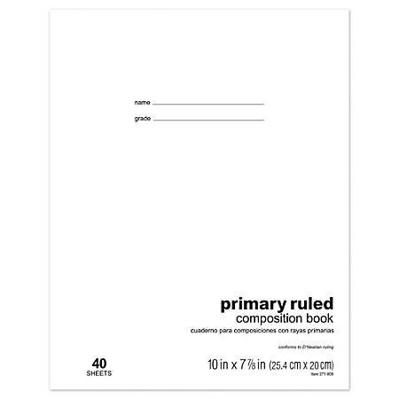 "Office Depot® Brand Schoolmate Composition Book, 7 7/8"" x 10"", Primary Ruled, 40 Sheets"