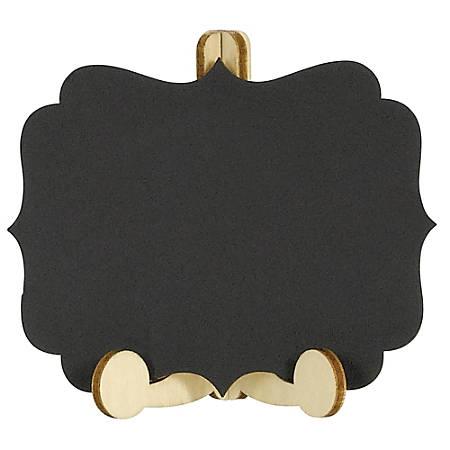 """Amscan Mini Chalkboard Easels, 3""""H x 3-1/2""""W, Black, 6 Easels Per Pack, Set Of 2 Packs"""