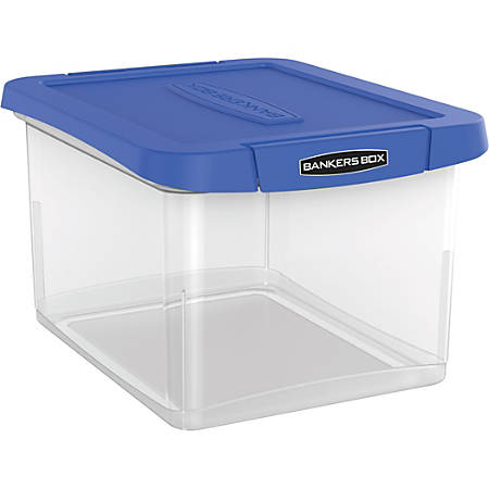 "Bankers Box® Heavy-Duty Plastic Portable File Box, Letter/Legal, 10 5/8""H x 14 3/16""W x 17 3/8""L, Clear/Blue"