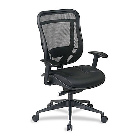 "Office Star™ Space 818A Executive Matrex Back And Leather High-Back Chair, 45 3/4""H x 27 3/4""W x 28 1/2""D, Black/Gunmetal Frame, Black Leather"