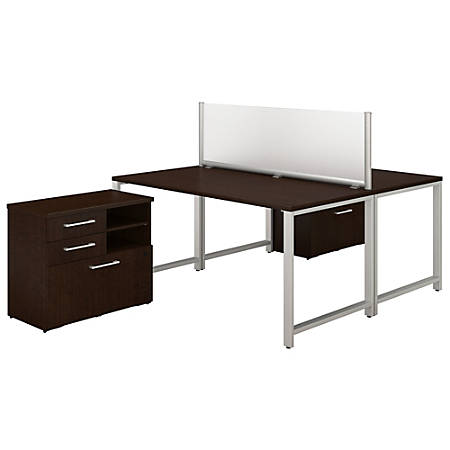 """Bush Business Furniture 400 Series 2-Person Workstation With Table Desks And Storage, 60""""W x 30""""D, Mocha Cherry, Standard Delivery"""