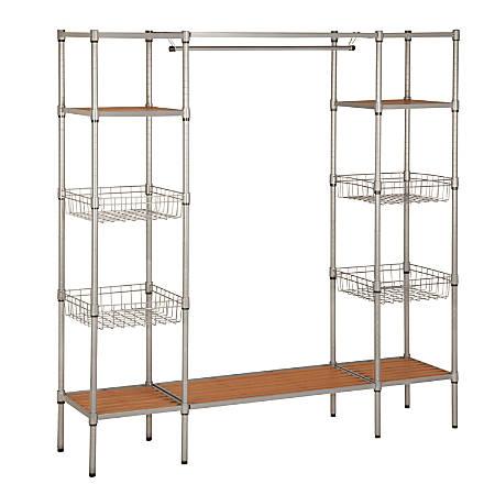 "Honey-Can-Do Adjustable Freestanding Steel Wardrobe, 68""H x 67 1/2""W x 16 1/4""D"