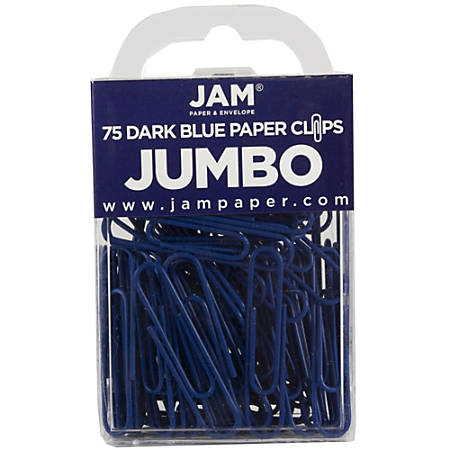 "JAM Paper® Paper Clips, Jumbo, 2"", 25-Sheet Capacity, Dark Blue, Pack Of 75"