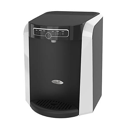 """Oasis Aquarius Plumbed Hot/Cold Countertop Water Cooler, 16 15/16""""H x 13 1/4""""W x 14 1/2""""D, Black/Silver"""