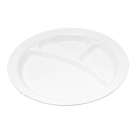 "Carlisle Narrow-Rim 3-Compartment Plates, 9"", White, Pack Of 48"