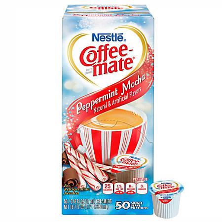 Nestle® Coffee-mate® Liquid Creamer Singles, Peppermint Mocha, 0.38 Oz, Box Of 50