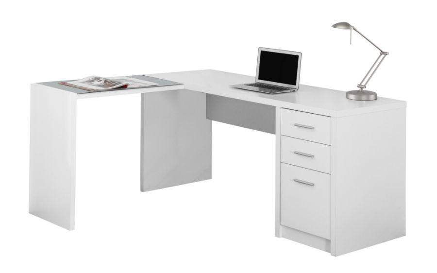 Monarch Specialties L Shaped Glass Computer Desk 60 W x 55 D White