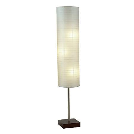 "Adesso® Gyoza Floor Lamp, 67""H, Walnut/White"
